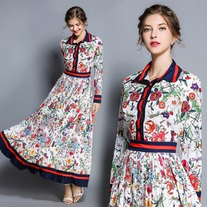 Print Wedding Party Long Sleeve Pleats Long Flare One-piece Dress Dress