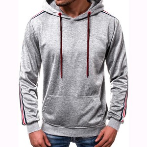 Men's Long Sleeve Men's Hoody Slender Outerwear Top Light Grey