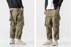 Overall Connection Men's Overall Cargo Pants Cotton Green