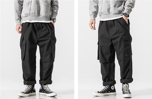 Overall Connection Men's Overall Cargo Pants Cotton Black