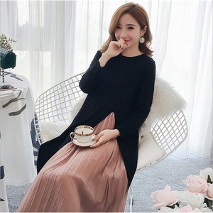 One-piece Dress Ladies Long Sleeve Pleats One-piece Dress Long One Piece