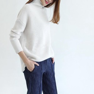 Elegance Casual Sweater High Quality Cashmere Feeling Turtle Knitted White