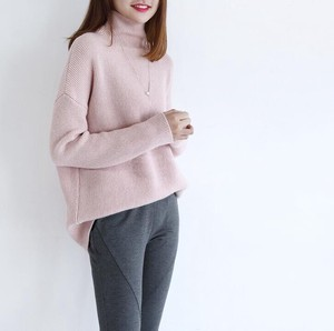 Elegance Casual Sweater High Quality Cashmere Feeling Turtle Knitted Pink