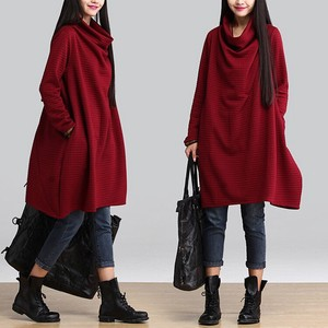 Popular One-piece Dress A/W Long Sleeve Plain Design Ladies