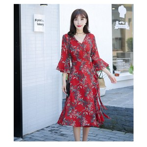 One-piece Dress Ladies Chiffon One-piece Dress Floral Pattern Semi-formal Red
