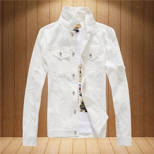 Men's Jacket Zip‐up Jacket Vintage Denim Jacket White