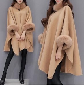 Ladies Poncho Coat Fur Coat Fur Coat Fake Fur Coat Body Type Cover