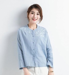 Casual Leisurely Cotton Linen Embroidery Long Sleeve Blouse Shirt Top Blue