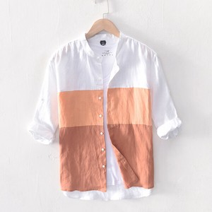 Men's Shirt Casual Shirt Three-Quarter Length Linen Shirt Flax Microwave Oven