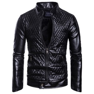Men's Leather Jacket Motorcycle Leather Jacket Bike Jacket Zip‐up Jacket Blouson Black