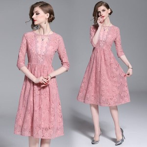 Lace Switch Wedding Concert Flare Band Dress Pink