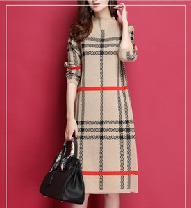 Checkered Wool Formal Meal Adult High Neck Knitted Sweater One-piece Dress Beige