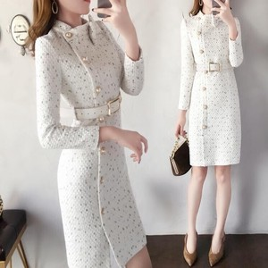 White Tweed One-piece Dress Slim Design One-piece Dress Beige
