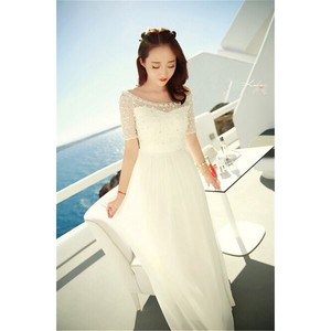 Chiffon One-piece Dress Dress Maxi Length One-piece Dress Wedding White Long One Piece