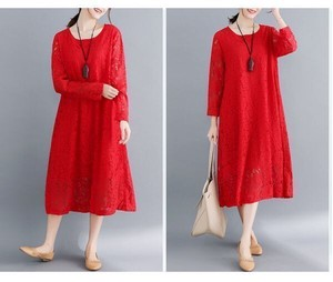 Casual Lace Leisurely Long Sleeve Long One-piece Dress Tunic