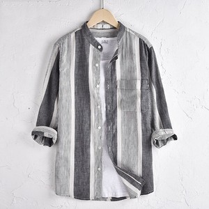 Men's Shirt Linen Shirt Casual Shirt Three-Quarter Length Stripe Gray