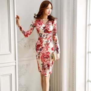 Ladies One-piece Dress Adult Party Dress V-neck Floral Pattern Print Long Sleeve