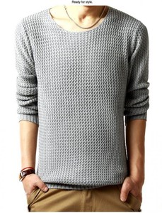 Men's Sweater Knitted Long Sleeve Knitted Sweater Knitted Cut And Sewn Top Gray