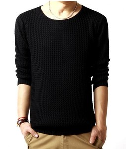 Men's Sweater Knitted Long Sleeve Knitted Sweater Knitted Cut And Sewn Top Black