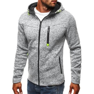 Men's Top Jacket Men's Hoody Long Sleeve Outerwear Sweatshirt Light Grey