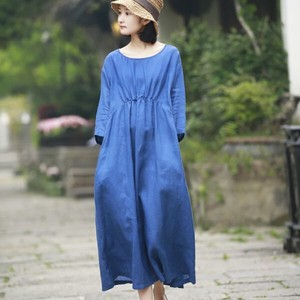Dyeing Leisurely Line One-piece Dress Long Skirt T-shirt One-piece Dress Dress
