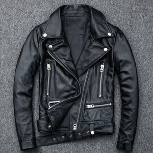 High Quality Sheep Leather Jacket Bike Jacket Rider Zipper Lean