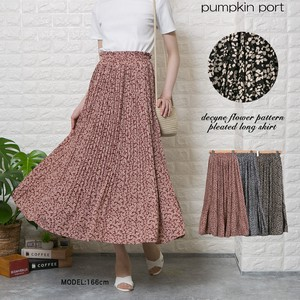 Single Color Floral Pattern Elase Pleats Long Skirt