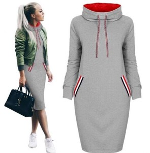 One-piece Dress Casual High Neck Bi-Color Sweatshirt Gray