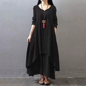Long One-piece Dress Soft Fabric Black