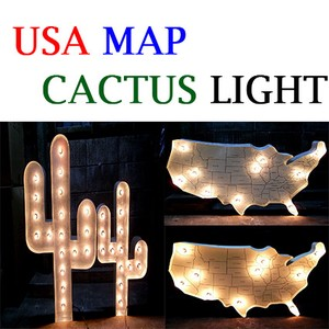 【インパクト大】USA MAP & CACTUS LIGHT