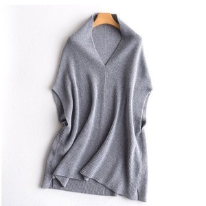 Wool Knitted Vest V-neck Vest Leisurely Fashion Light Grey