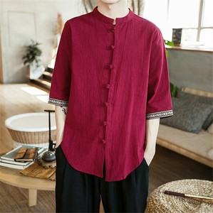 Men's Shirt Three-Quarter Length Casual Linen Shirt Top Red