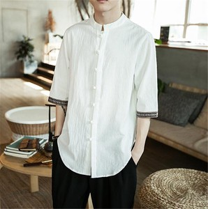 Men's Shirt Three-Quarter Length Casual Linen Shirt Top White