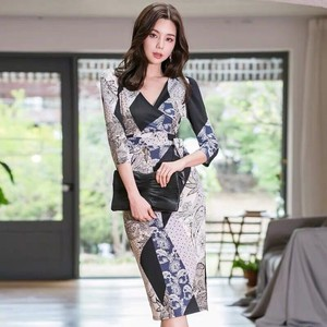 One-piece Dress Floral Pattern One-piece Dress Knee-high Miss V-neck Wedding Party Dress