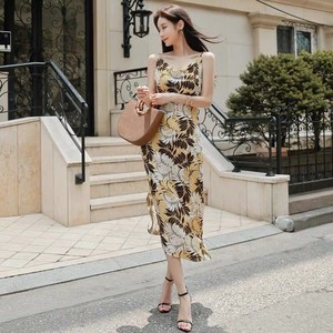 Floral Pattern One-piece Dress Ladies One-piece Dress Long Party Dress