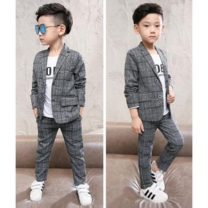 Boys Fashion Formal Suits Checkered Boys Men's Set Gray