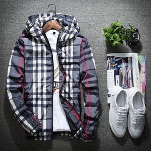 Men's With Hood Checkered Zip‐up Jacket Jacket Casual Sport Gray