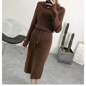 Ladies Semi-formal Knitted One-piece Dress One Piece Long Sleeve Plain