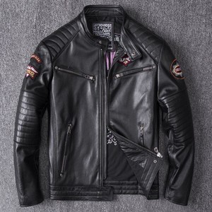Embroidery Men's Leather Jacket Genuine Leather Bike Jacket Genuine Leather Rider