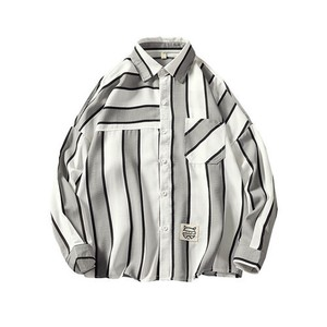 Men's Shirt Casual Shirt Stripe Long Sleeve Dress Shirt Thin S/S Gray
