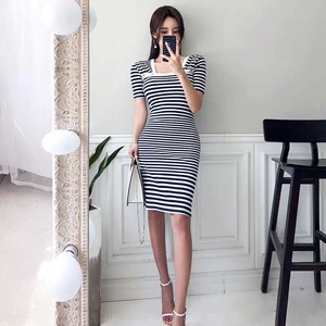 Knitted One-piece Dress One-piece Dress Short Sleeve Knee-high