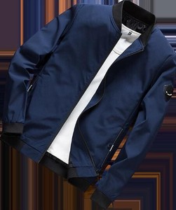 Men's Jacket Blouson Zip‐up Jacket Patch Track Jacket Blue