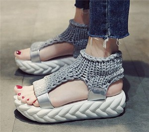 Ladies Sport Sandal Knitted Comfort Shoes Shoe Casual Gray