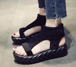 Ladies Sport Sandal Knitted Comfort Shoes Shoe Casual Black