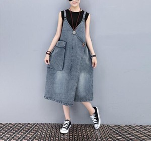 Ladies Denim Overall One-piece Dress Denim One Piece Blue