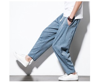 Men's Loungewear Linen Pants Casual Long Pants Pants Blue