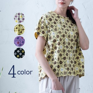 S/S Hand-writing Flower Repeating Pattern Print Dolman T-shirt [ 2020NewItem ]