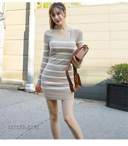 Knitted One-piece Dress One-piece Dress Long Sleeve Semi-formal One Piece