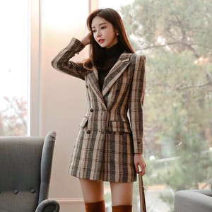 Ladies One-piece Dress Suits One-piece Dress Jacket Checkered
