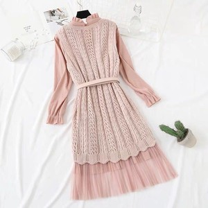 Knitted One-piece Dress Set Belt Flare One-piece Dress Long Pink